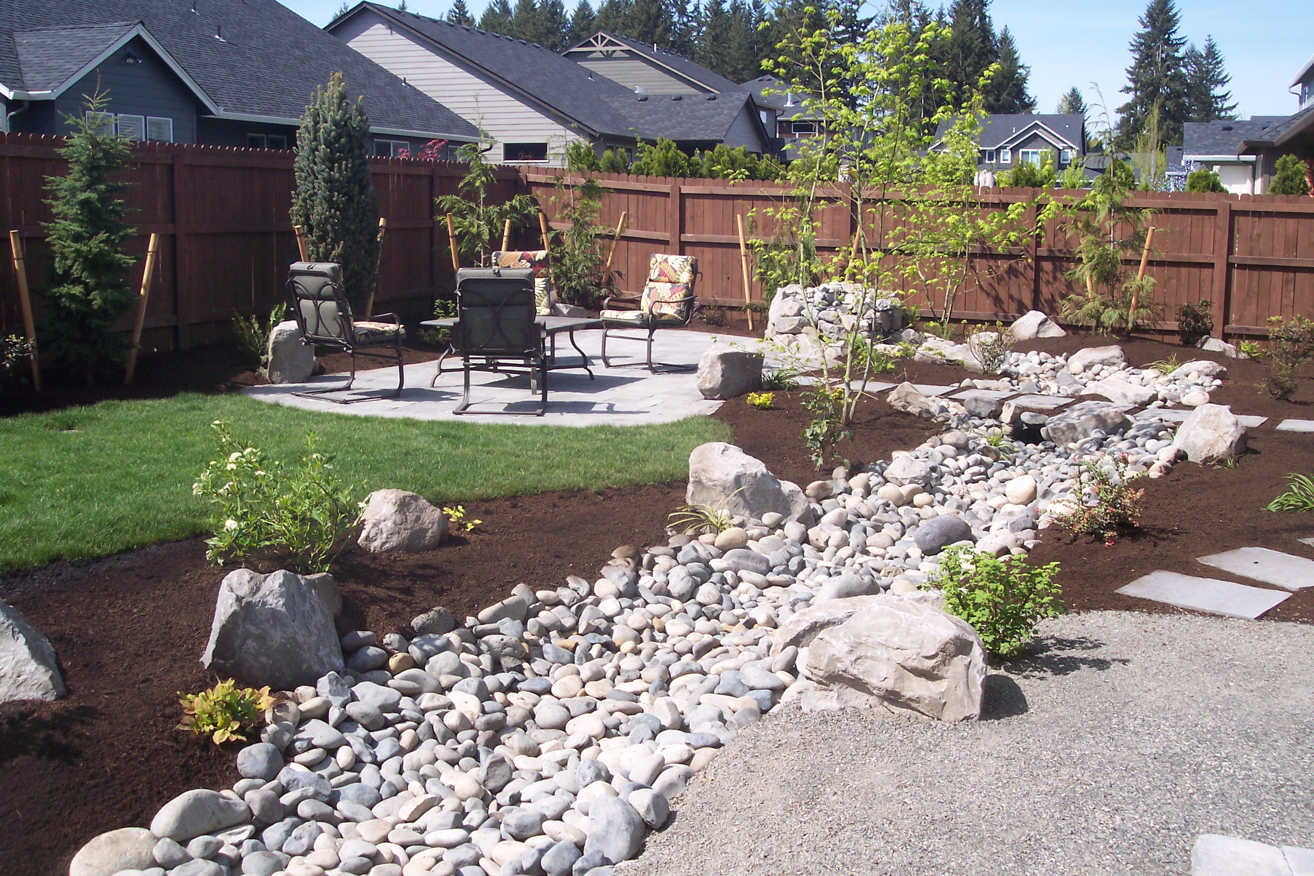 paver patio dried creek, large stepping stones and gravel walk