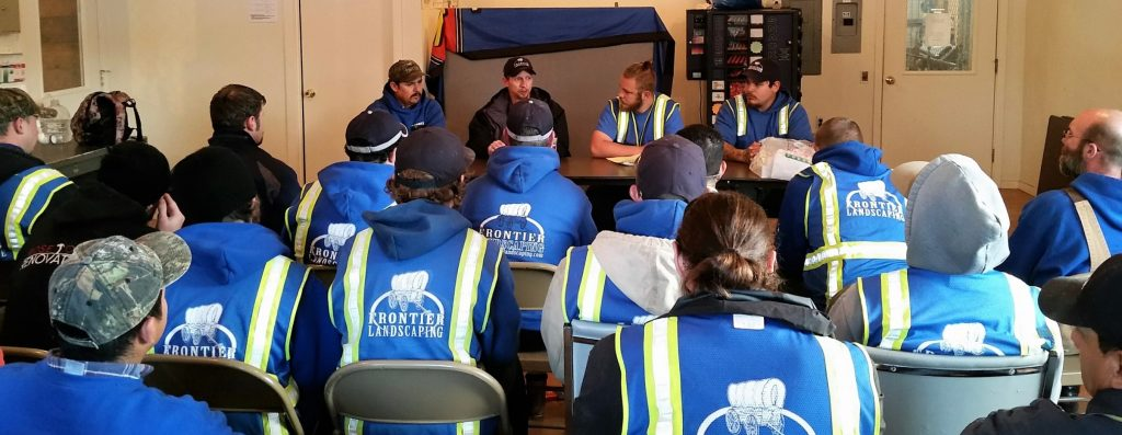 Safety meeting Frontier Landscaping NALP Safe Company program