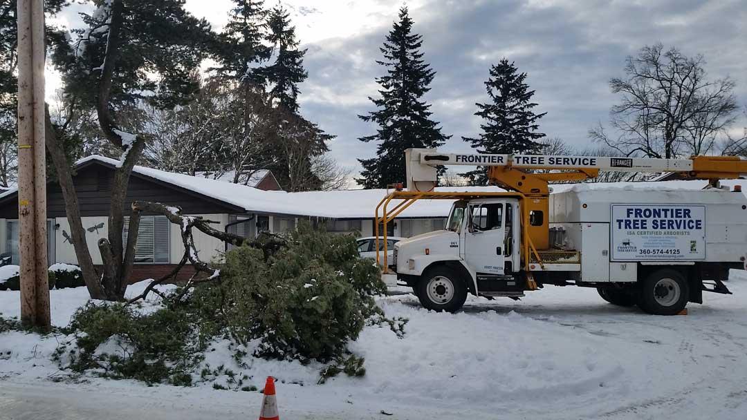 Distant snow plow pickup