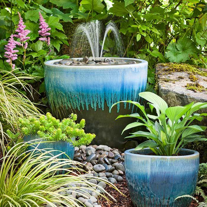 glazed ceramic pot water fountain planter with